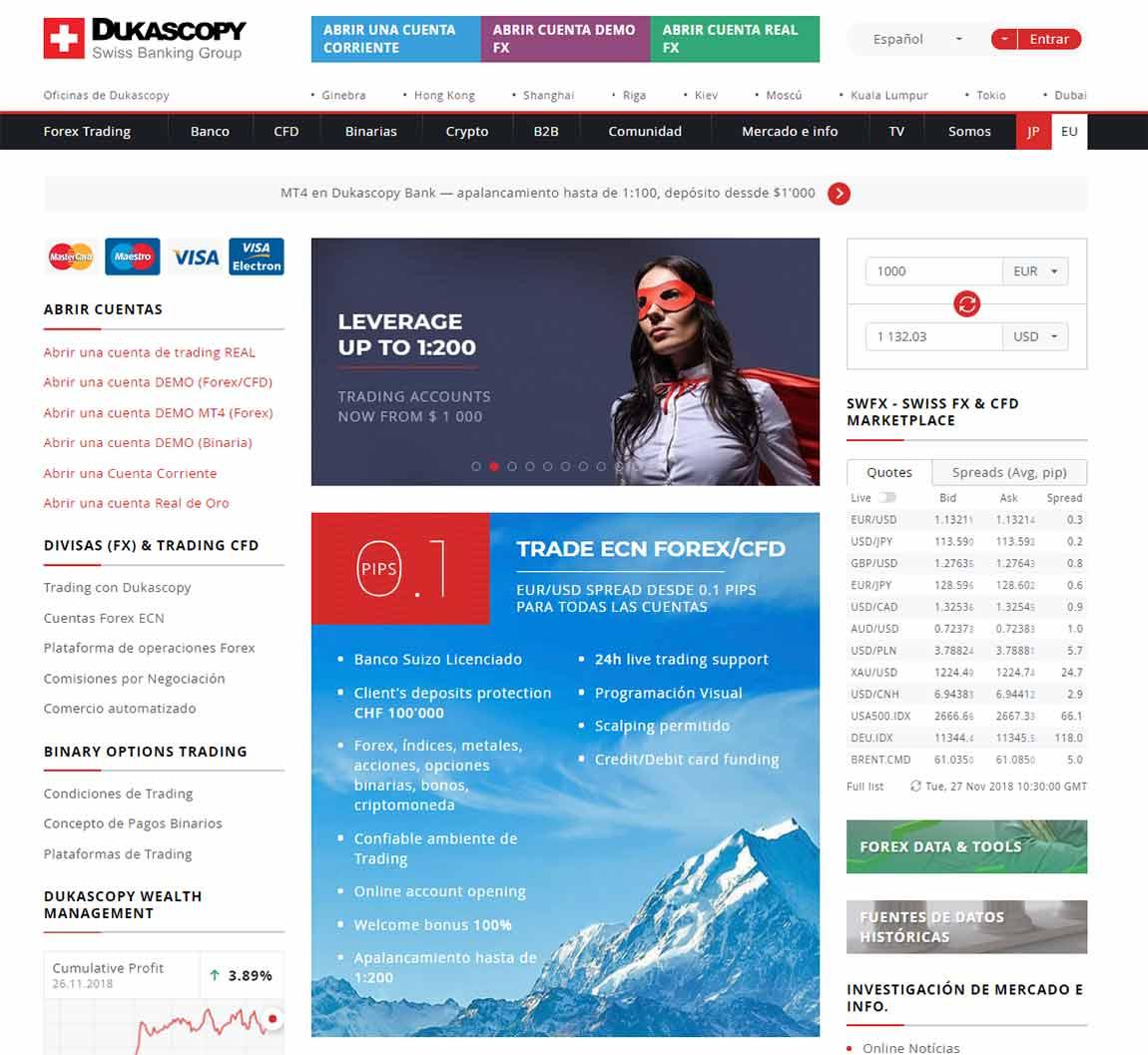Dukascopy: página web