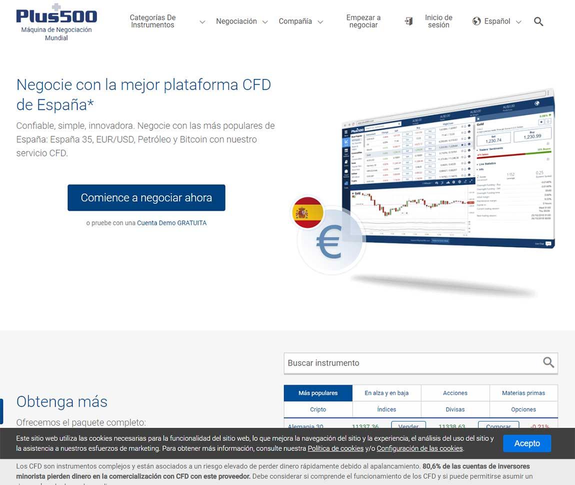 Plus500: página web