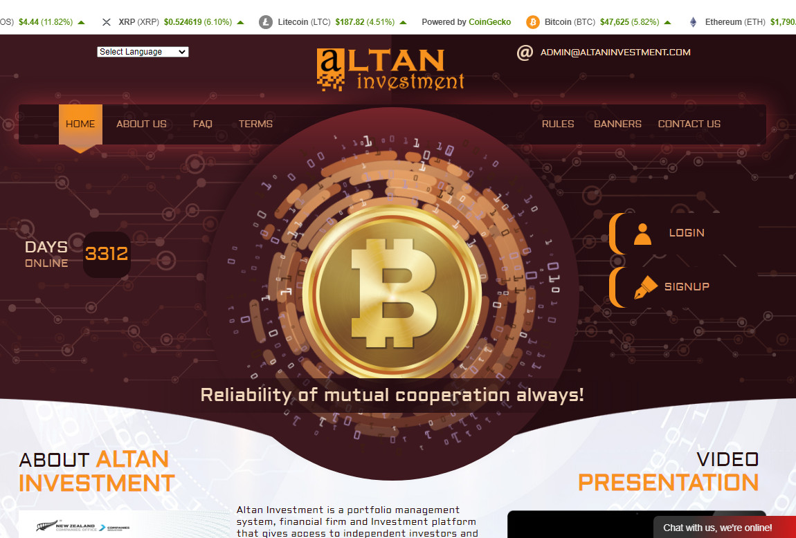 Altan Investment: página web