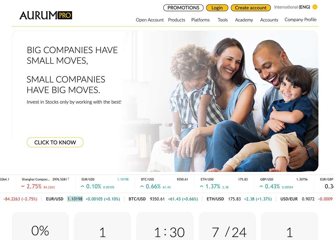 Aurum Pro Finance: página web