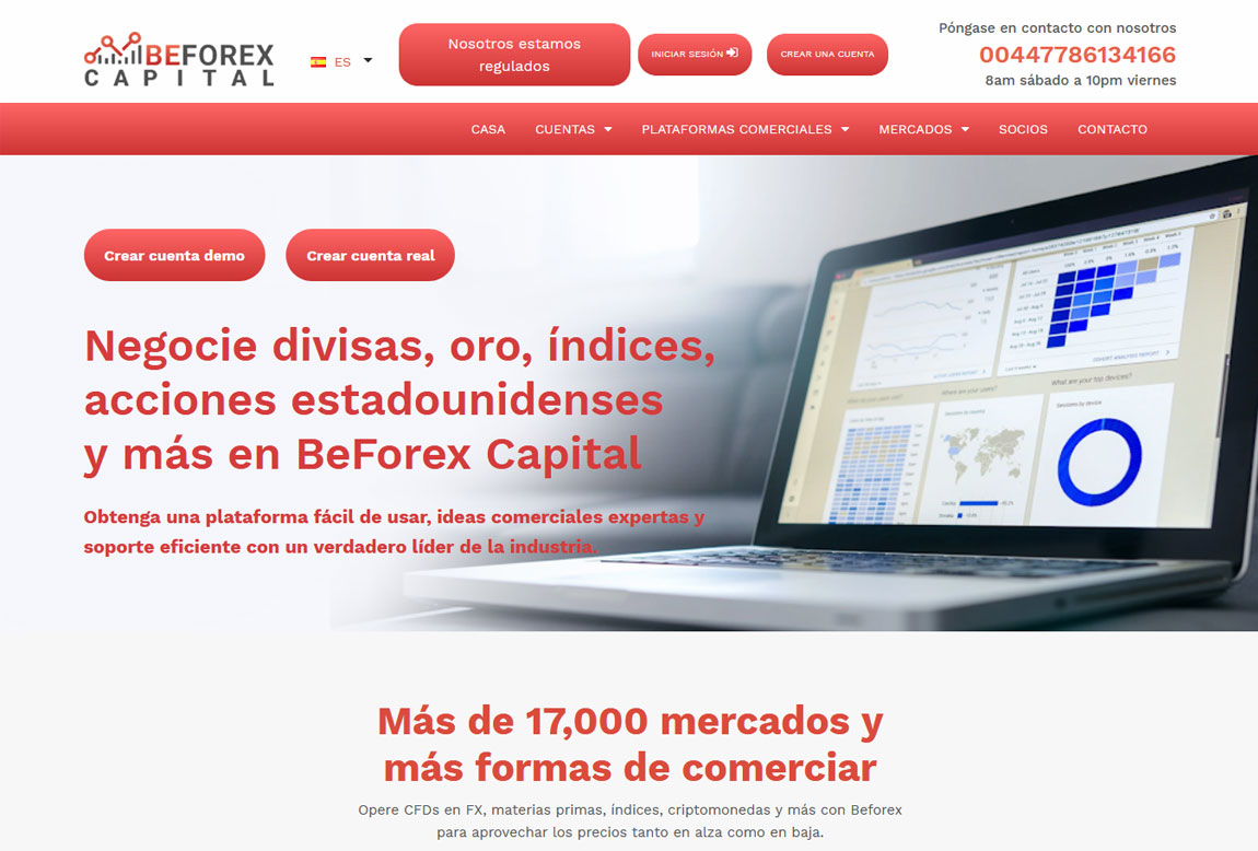 BeForex Capital: página web