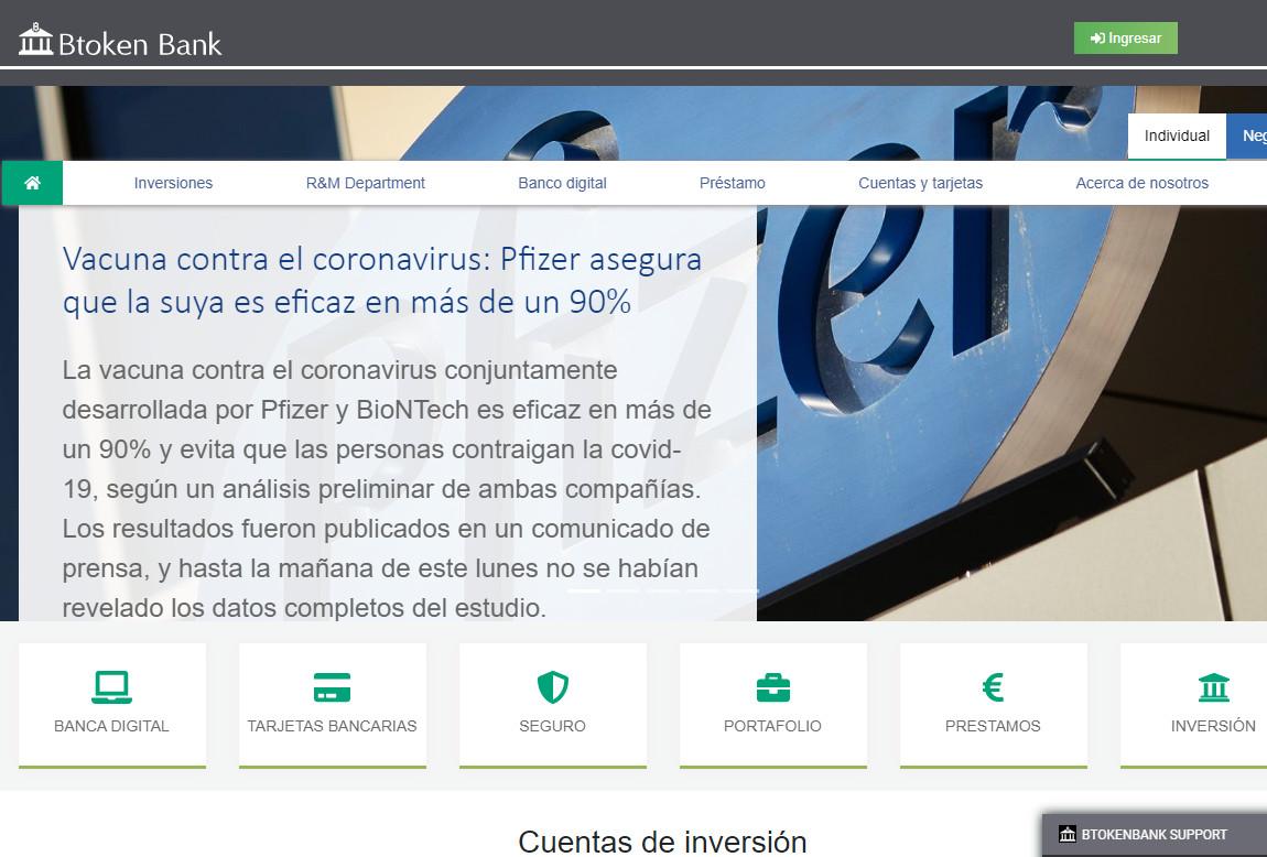 Btoken Bank: página web