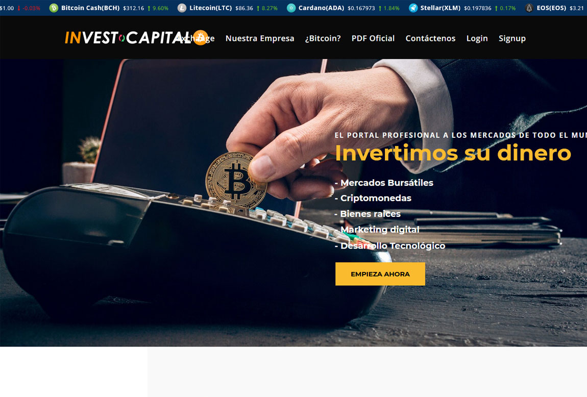 Invest Capital BTC: página web