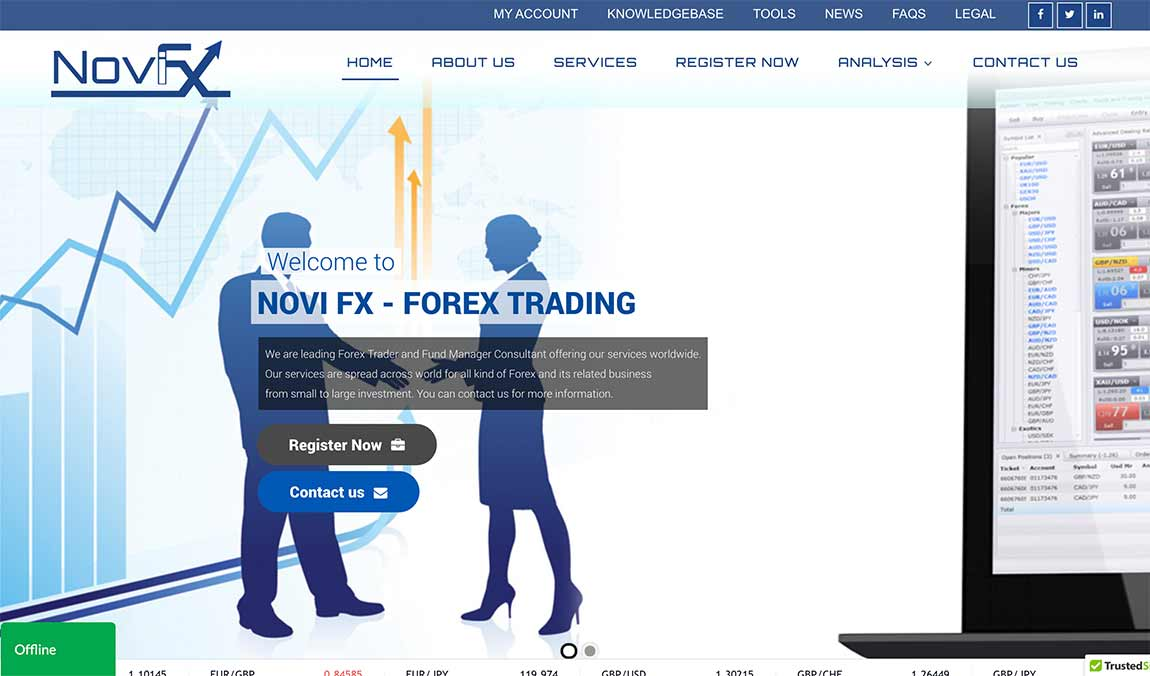 Novi FX: página web