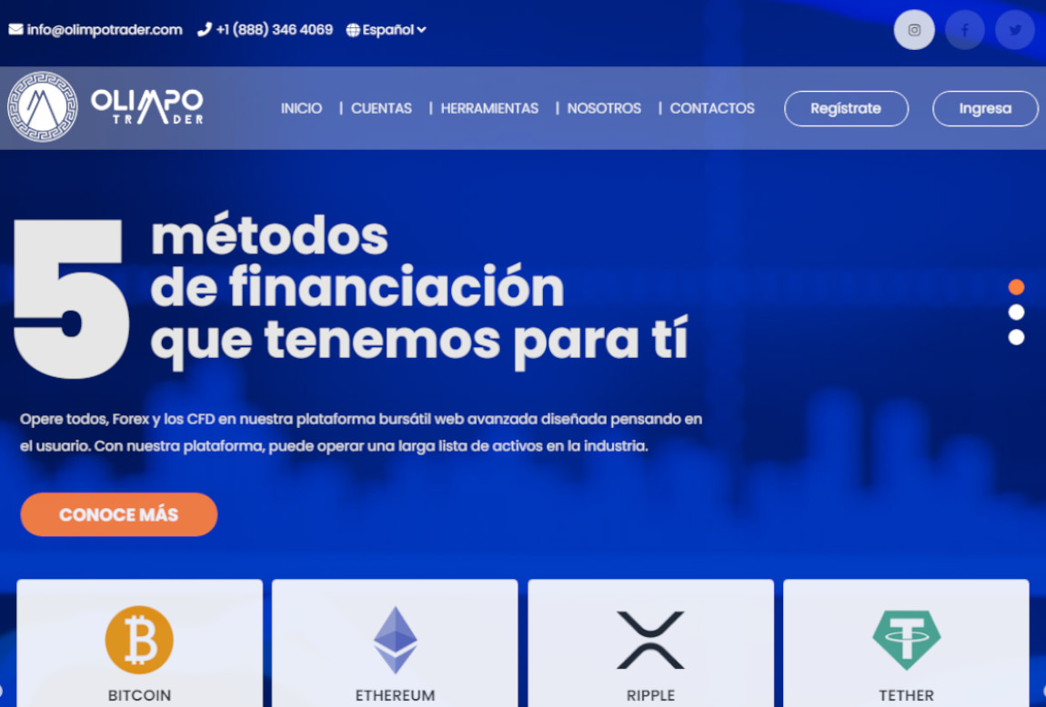 Olimpo Trader: página web