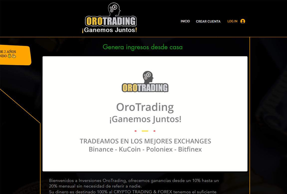 OroTrading: página web