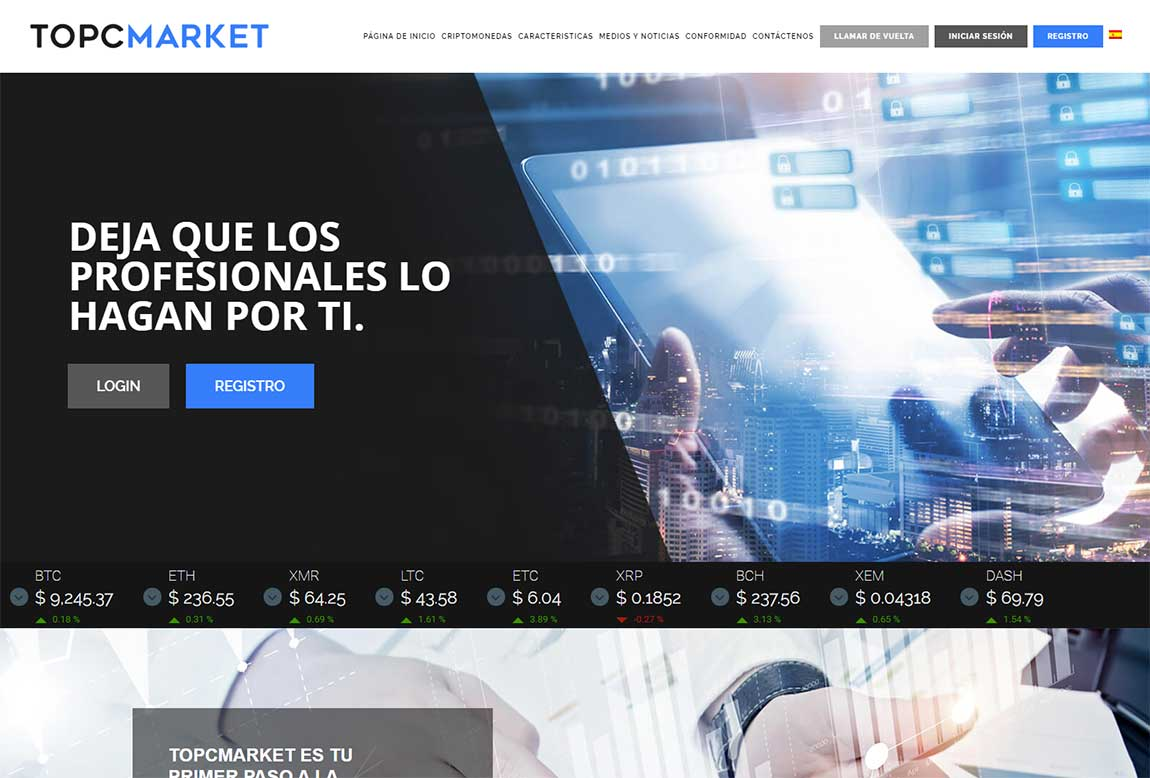 Topcmarket: página web