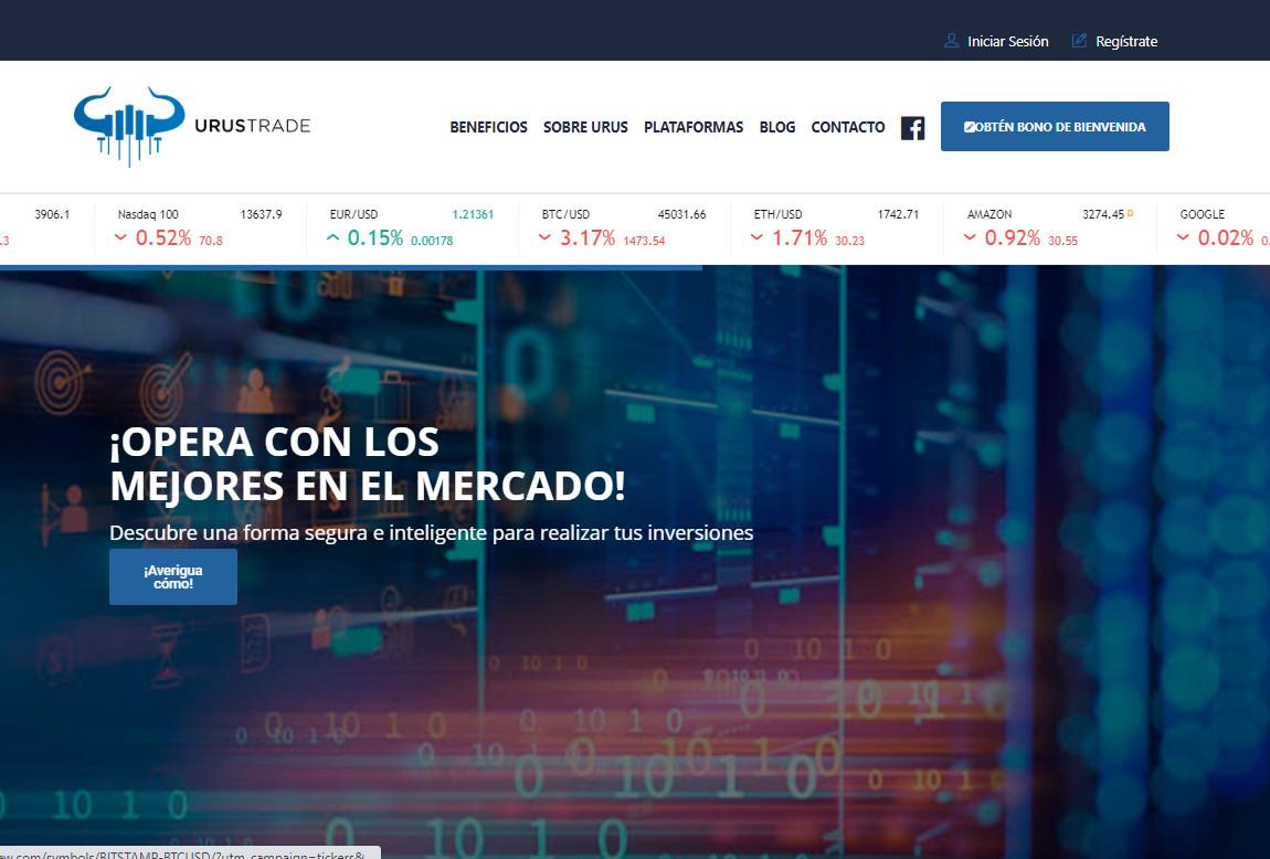 Urus Trade: página web